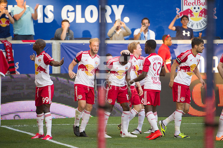 HARRISON, NJ - Sunday May 10, 2015: Bradley Wright-Phillips nets the first goal of the match.  The New York Red Bulls defeat cross-town rivals New York City FC 2-1 in the first ever meeting of the two teams at Red Bull Arena in the MLS regular season.