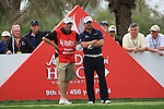 Graeme McDowell and Caddy Kenny on the 9th tee on day two of the Abu Dhabi HSBC Golf Championship 2011, at the Abu Dhabi golf club, UAE. 21/1/11..Picture Fran Caffrey/www.golffile.ie.