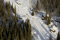 Aerial of Ramey Smyth Entering Anvik Iditarod 2005