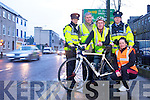 Left to Right Garda Claire Dennehy, Director of Roads, Ger McNamara, Cyclist John L. McElligott, Garda Paula Keating and KRSP CoOrdinator Córa Carrigg promoting the be Seen be Safe campaign