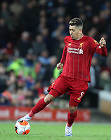 24th February 2020; Anfield, Liverpool, Merseyside, England; English Premier League Football, Liverpool versus West Ham United; Roberto Firmino of Liverpool races forward with the ball