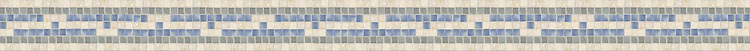 "2 3/4"" Alexandria  border, a hand-cut mosaic shown in polished Botticino, Kay's Green, and Blue Macauba by New Ravenna."