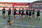 3rd February 2019, Spotless Stadium, Sydney, Australia; HSBC Sydney Rugby Sevens; New Zealand versus Australia; Womens Final; New Zealand perform the Haka after winning the final against Australia