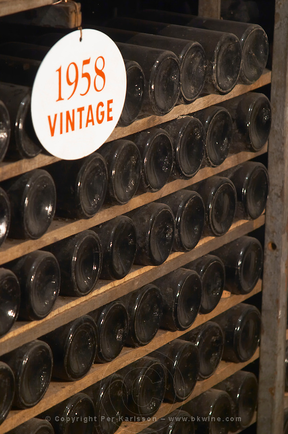 old bottles in the cellar 1958 ferreira port lodge vila nova de gaia porto portugal
