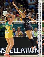 09.10.2016 Silver Ferns Phoenix Karaka in action during the Silver Ferns v Australia netball test match played at Qudos Bank Arena in Sydney. Mandatory Photo Credit ©Michael Bradley.