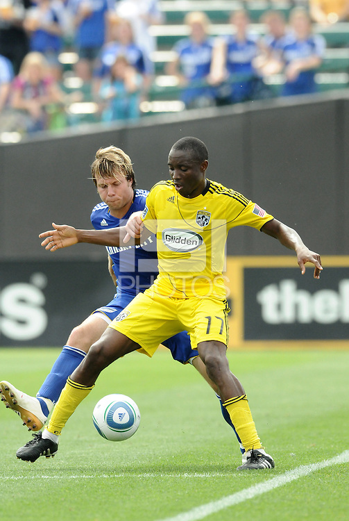 Emmanuel Ekpo #17, Michael Harrington...Kansas City Wizards were defeated 1-0 by Columbus Crew at Community America Ballpark, Kansas City, Kansas.