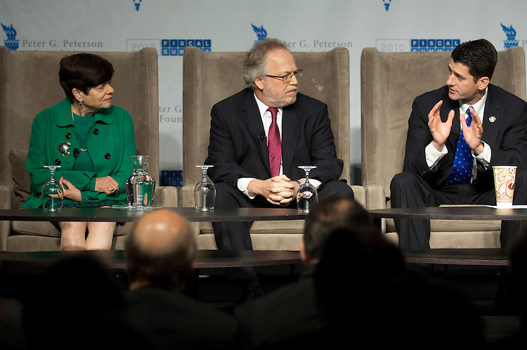 WASHINGTON, DC - April 28: Alice Rivlin, the founding director of the Congressional Budget Office, former director of the Office of Management and Budget and a member of the National Commission on Fiscal Responsibility and Reform; Lawrence Mishel, president of the Economic Policy Institute; and Rep. Paul D. Ryan, R-Wis., and a member of the National Commission on Fiscal Responsibility and Reform; during a panel discussion at the 2010 Fiscal Summit sponsored by the Peter G. Peterson Foundation. (Photo by Scott J. Ferrell/Congressional Quarterly)