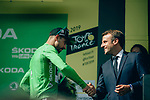 President Emmanuel Macron greets Green Jersey holder Peter Sagan (SVK) Bora-Hansgrohe on the podium at the end of Stage 14 of the 2019 Tour de France running 117.5km from Tarbes to Tourmalet Bareges, France. 20th July 2019.<br /> Picture: ASO/Thomas Maheux | Cyclefile<br /> All photos usage must carry mandatory copyright credit (© Cyclefile | ASO/Thomas Maheux)