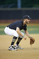 Wake Forest Demon Deacons third baseman Johnny Aiello (2) on defense against the Virginia Cavaliers at David F. Couch Ballpark on May 18, 2018 in  Winston-Salem, North Carolina.  The Cavaliers defeated the Demon Deacons 15-3.  (Brian Westerholt/Four Seam Images)