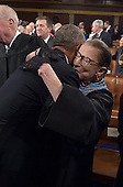 US President Barack Obama hugs US Supreme Court Associate Justice, Ruth Bader Ginsburg, as arrives to deliver the State of the Union address before a joint session of Congress on January 20, 2015 at the US Capitol in Washington, DC.  <br /> Credit: Mandel Ngan / Pool via CNP