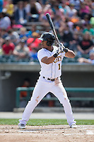Luigi Rodriguez (1) of the Lynchburg Hillcats at bat against the Frederick Keys at Calvin Falwell Field at Lynchburg City Stadium on May 14, 2015 in Lynchburg, Virginia.  The Hillcats defeated the Keys 6-3.  (Brian Westerholt/Four Seam Images)