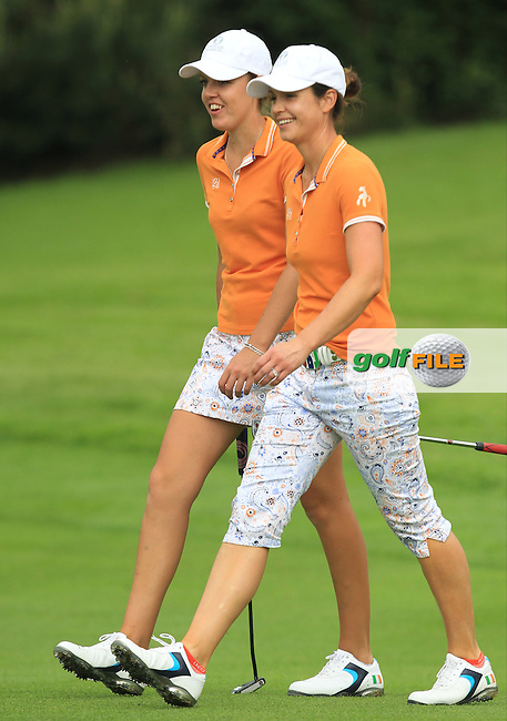 Meghan MacLaren and Maria Dunne on the 7th during the Saturday Mourning Fourbsomes of the 2016 Curtis Cup at Dun Laoghaire Golf Club on Saturday 11th June 2016.<br /> Picture:  Golffile | Thos Caffrey