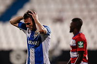22nd June 2020; Estadio Municipal de Butarque, Madrid, Spain; La Liga Football, Club Deportivo Leganes versus Granada; Javi Eraso (CD Leganes)  frustrated as he misses a good goal scoring chance