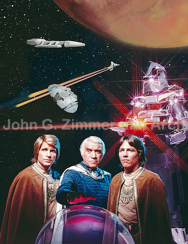 Battlestar Galactica TV Show (L to R): Dirk Benedict, Loren Greene, RIchard Hatch, 1978. Photographer John G. Zimmerman