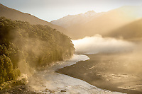 Early morning, Makarora River at Cameron Flat, Haast Pass, South Island, New Zealand