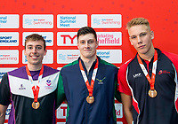 Picture by Allan McKenzie/SWpix.com - 05/08/2017 - Swimming - Swim England National Summer Meet 2017 - Ponds Forge International Sports Centre, Sheffield, England - James Oxborrow, Sam Phippen & Leonids Sarigins take bronze in the Mens 18yrs and over, 17yrs and 16yrs 100m Backstroke finals respectively.