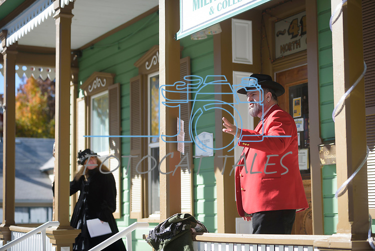 Mary Bennett, left, and Elvis Thompson participate lead the Carson City Ghost Walk on the historical west side of the city Saturday, Oct. 21, 2017.<br /> Photo by Candice Nyando/Nevada Momentum