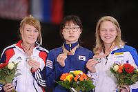 "SHORT TRACK: MOSCOW: Speed Skating Centre ""Krylatskoe"", 15-03-2015, ISU World Short Track Speed Skating Championships 2015, Podium 1000m Ladies, Elise CHRISTIE (GBR), Minjeong CHOI (KOR), Arianna FONTANA (ITA), ©photo Martin de Jong"