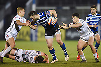 Max Wright of Bath United takes on the Gloucester United defence. Premiership Rugby Shield match, between Bath United and Gloucester United on April 8, 2019 at the Recreation Ground in Bath, England. Photo by: Patrick Khachfe / Onside Images