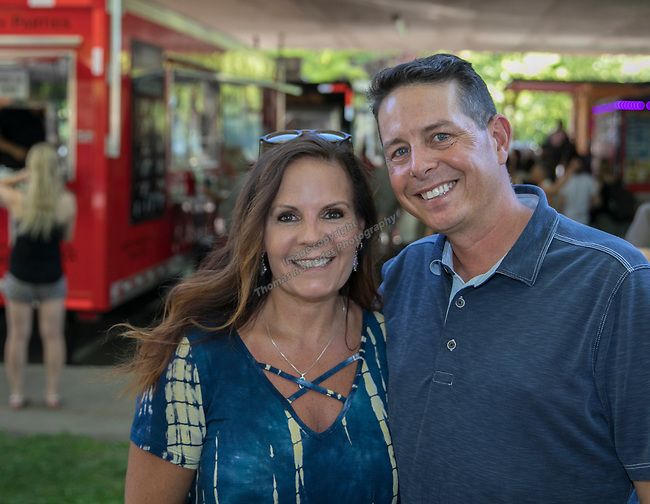Krissy Brown and Wayne Cameron during the Feed the Camel food truck night at the McKinley Arts Center in Reno on Wednesday, June 28, 2017.