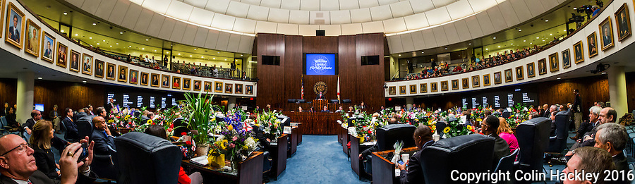 TALLAHASSEE, FLA. 1/12/16-Senate President Andy Gardiner, R-Orlando, speaks during the opening day of the 2016 legislative session, Tuesday at the Capitol in Tallahassee.<br /> <br /> EDITOR'S NOTE: This image is comprised of multiple photos taken at the same time and stitched together in photoshop to create a panorama. <br /> <br /> COLIN HACKLEY PHOTO
