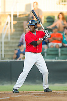 Keon Barnum (35) of the Kannapolis Intimidators at bat against the Rome Braves at CMC-Northeast Stadium on August 24, 2013 in Kannapolis, North Carolina.  The Intimidators defeated the Braves 6-1.  (Brian Westerholt/Four Seam Images)