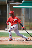 GCL Nationals right fielder Juan Evangelista (2) at bat during the first game of a doubleheader against the GCL Marlins on July 23, 2017 at Roger Dean Stadium Complex in Jupiter, Florida.  GCL Nationals defeated the GCL Marlins 4-0.  (Mike Janes/Four Seam Images)