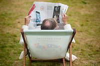 Wednesday  01 June 2016<br /> Pictured: A man relaxes in a deckchair at the festival <br /> Re: The 2016 Hay festival take place at Hay on Wye, Powys, Wales