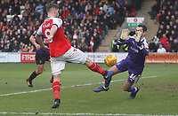 Fleetwood Town's Ched Evans in action with Fleetwood Town's Spencer Myers<br /> <br /> Photographer Mick Walker/CameraSport<br /> <br /> The EFL Sky Bet League One - Fleetwood Town v Luton Town - Saturday 16th February 2019 - Highbury Stadium - Fleetwood<br /> <br /> World Copyright © 2019 CameraSport. All rights reserved. 43 Linden Ave. Countesthorpe. Leicester. England. LE8 5PG - Tel: +44 (0) 116 277 4147 - admin@camerasport.com - www.camerasport.com