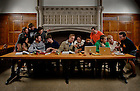 Nov. 4, 2013; Students re-interpret the Leonardo DaVinci painting &quot;The Last Supper&quot; in South Dining Hall.<br /> <br /> Photo by Matt Cashore/University of Notre Dame