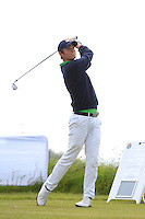 Alexander Wilson (Portmarnock) on the 1st tee during Round 1 of the Irish Amateur Close Championship at Seapoint Golf Club on Saturday 7th June 2014.<br /> Picture:  Thos Caffrey / www.golffile.ie