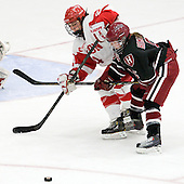 Taylor Holze (BU - 24), Kelsey Romatoski (Harvard - 5) - The Boston University Terriers defeated the visiting Harvard University Crimson 2-1 on Sunday, November 18, 2012, at Walter Brown Arena in Boston, Massachusetts.