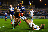 Joe Cokanasiga of Bath Rugby looks to reach the try-line in the second half. Gallagher Premiership match, between Bath Rugby and Exeter Chiefs on October 5, 2018 at the Recreation Ground in Bath, England. Photo by: Patrick Khachfe / Onside Images