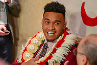 New York, NY - December 8, 2018:  Alabama quarterback Tua Tagovailoa speaks with the media  during the Heisman Trophy Award announcement at the New York Marriott hotel December 8, 2018. Tagovailoa threw for 3,353 yards with 37 touchdowns.   (Photo by Don Baxter/Media Images International)