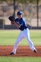 Miles Iverson (43), from Lake Forest Park, Washington, while playing for the Dodgers during the Under Armour Baseball Factory Recruiting Classic at Red Mountain Baseball Complex on December 28, 2017 in Mesa, Arizona. (Zachary Lucy/Four Seam Images)