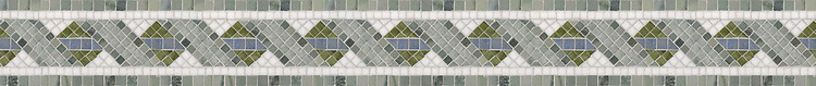 """4 1/4"""" Madeira border, a hand-cut stone mosaic, shown in polished Ming Green, Verde Luna, Blue Macauba, Thassos, and Kay's Green."""