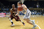 27 January 2013: Duke's Jenna Frush drives past Boston College's Tessah Holt (3). The Duke University Blue Devils played the Boston College Eagles at Cameron Indoor Stadium in Durham, North Carolina in an NCAA Division I Women's Basketball game. Duke won the game 80-56.
