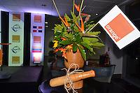 Orange Dominicana-ofrece coctel  a peloteros de l serie el Caribe.Jose Alvarez, Jose Hernandez, Monika Despradel, Juan Francisco Puello y Frank Micheli.Foto:Saturnino Vasquez/acento.com.do.Fecha:02/02/2012.