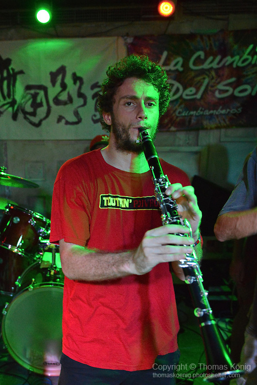 Kaohsiung, Taiwan -- Manu Brotte of LA CUMBIA DEL SOL on clarinet.