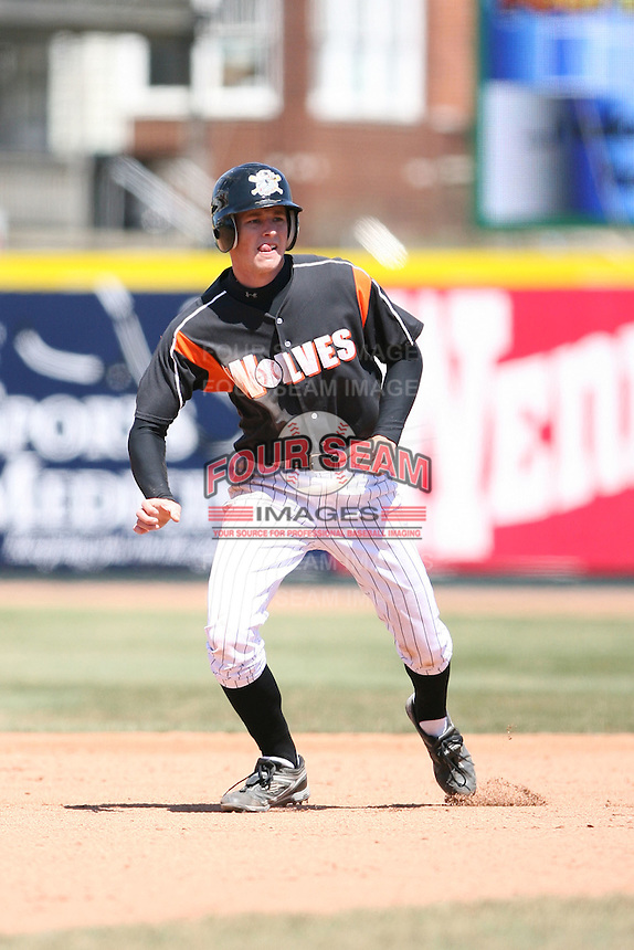 April 15th 2008:  Outfielder Deik Scram (18) of the Erie Seawolves, Class-AA affiliate of the Detroit Tigers, during a game at Jerry Uht Park in Erie, PA.  Photo by:  Mike Janes/Four Seam Images