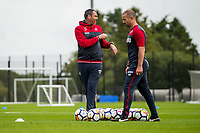 Wednesday 26 July 2017<br /> Pictured: Manager of Swansea City, Paul Clement looks in during training <br /> Re: Swansea City FC Training session takes place at the Fairwood Training Ground, Swansea, Wales, UK