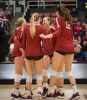 Stanford, CA - October 18, 2019: Kate Formico, Jenna Gray, Madeleine Gates, Audriana Fitzmorris at Maples Pavilion. The No. 2 Stanford Cardinal swept the Colorado Buffaloes 3-0.
