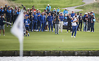 Alex Noren (Team Europe) plays his final shot in to the 18th during Sunday's Singles, at the Ryder Cup, Le Golf National, &Icirc;le-de-France, France. 30/09/2018.<br /> Picture David Lloyd / Golffile.ie<br /> <br /> All photo usage must carry mandatory copyright credit (&copy; Golffile | David Lloyd)