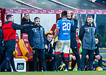 15.12.2019 Motherwell v Rangers: Alfredo Morelos asks fourth official Bobby Madden for an explanation as he walks off