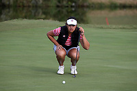 CHAPEL HILL, NC - OCTOBER 13: Skylar Thompson of the Ohio State University lines up a putt at UNC Finley Golf Course on October 13, 2019 in Chapel Hill, North Carolina.