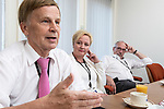 Strasbourg - France - 03 July 2019 -- MEPs from the Renew Europe Group, Mauri PEKKARINEN, Elsi KATAINEN (Suomen Keskusta - Fin.) and Nils TORVALDS (Svenska folkpartiet Fin.) talking to media. -- PHOTO: Juha ROININEN / EUP-IMAGES