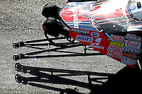 Sep 2, 2016; Clermont, IN, USA; Detailed view of the wheelie bars on the car of NHRA pro mod driver Mike Janis during qualifying for the US Nationals at Lucas Oil Raceway. Mandatory Credit: Mark J. Rebilas-USA TODAY Sports