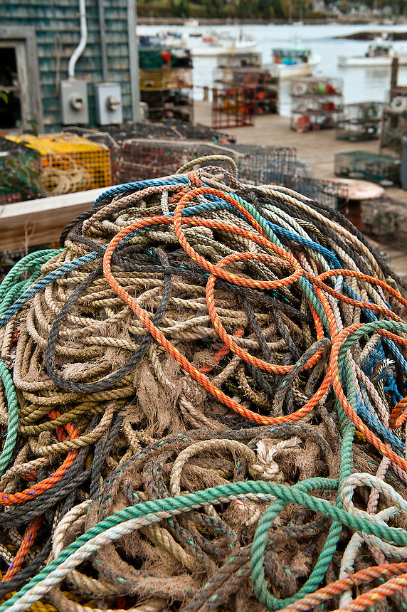 Ropes and lobster traps on dock in the fishing villlage of Bernard, Maine, ME, USA