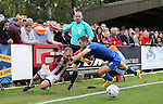 AFC Wimbledon's Jon Meades tussles with Sheffield United's Matt Done during the League One match at the Kingsmeadow Stadium, London. Picture date: September 10th, 2016. Pic David Klein/Sportimage