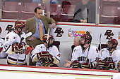 Pat Mullane (BC - 11), Mike Cavanaugh (BC - Associate Head Coach), Barry Almeida (BC - 9), Jerry York (BC - Head Coach), Jimmy Hayes (BC - 10), Brian Gibbons (BC - 17) - The Boston College Eagles defeated the Merrimack College Warriors 4-3 on Friday, October 30, 2009, at Conte Forum in Chestnut Hill, Massachusetts.